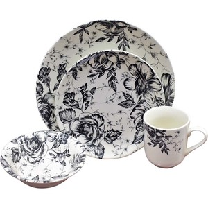 Claytn Dinner Set Impression Floral Black 16pcs
