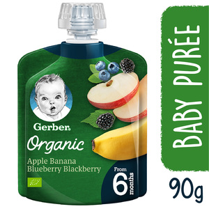 Gerber Baby Food Organic Apple Banana Blueberry & Blackberry From 6 Months 90g