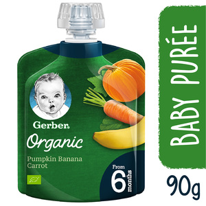 Gerber Baby Food Organic Pumpkin Banana & Carrot From 6 Months 90g