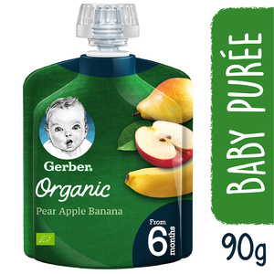 Gerber Baby Food Organic Pear Apple & Banana From 6 Months 90g