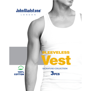 John Gladstone Men's Inner Vest 3Pc Pack White Large