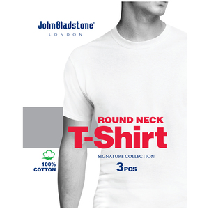 John Gladstone Men's Inner T-Shirt (Round Neck) 3Pc Pack White Small