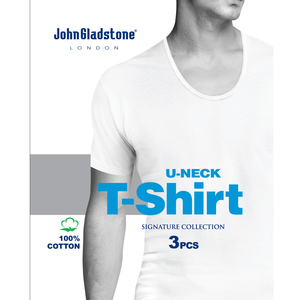 John Gladstone Men's Inner T-Shirt (U-Neck) 3Pc Pack White Small