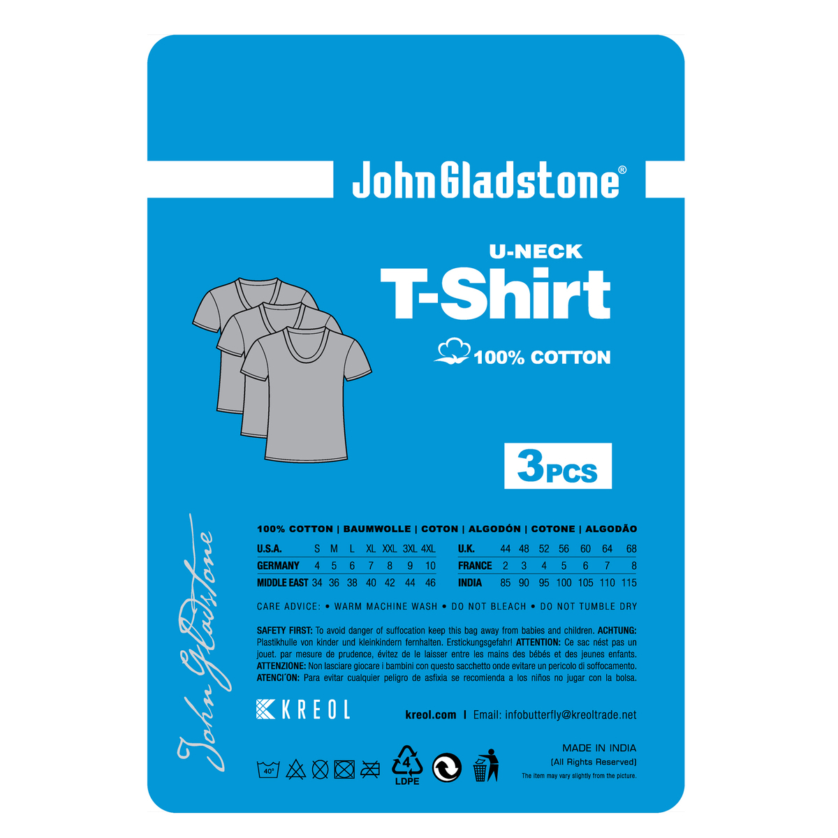 John Gladstone Men's Inner T-Shirt (U-Neck) 3Pc Pack White Large
