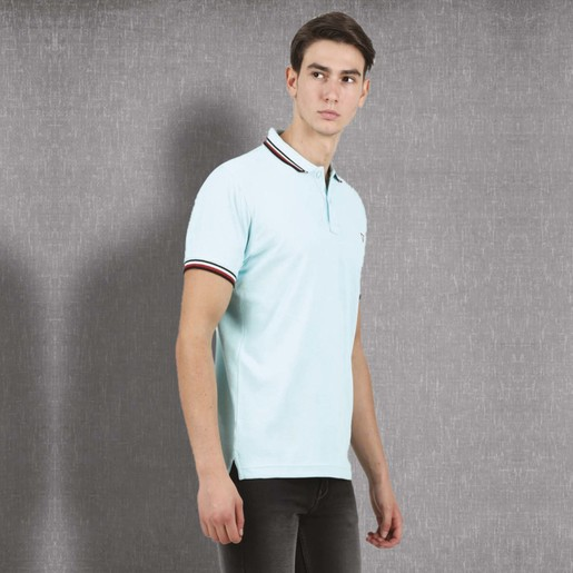 Cortigiani Men's Basic Polo Short Sleeve Sky Blue Medium