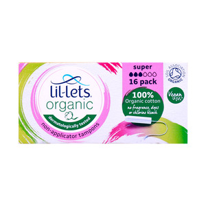 Lil-Lets Organic Non-Applicator Tampons Super 16pcs