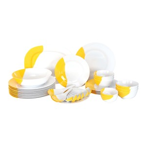 Lulu Melamine Dinner Set 2T Yellow & White 34pcs
