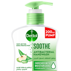 Dettol Soothe Handwash Liquid Soap Pump For Effective Germ Protection & Personal Hygiene Aloe Vera & Apple Fragrance 200ml