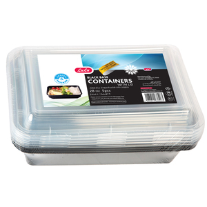Lulu Black Base Square Containers With Lid 28oz 5pcs