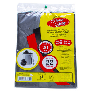 Home Mate Biodegradable HD Garbage Bags 22Gallons 65cm x 95cm 20pcs