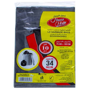 Home Mate Biodegradable LD Garbage Bags 34Gallon 75cm x 103cm 10pcs