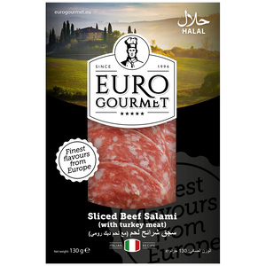 Euro Gourmet  Sliced Beef Salami With Turkey Meat 130g