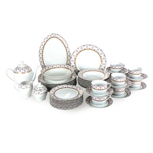 Pearl Noire Porcelain Dinner Set HS11501 47pcs