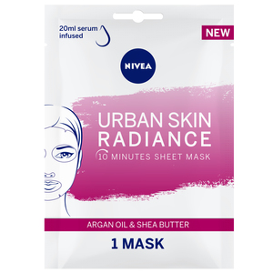 Nivea Face Urban Skin Radiance Sheet Mask Serum Infused with Argan Oil & Shea Butter 1pc