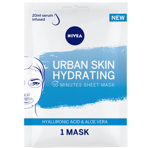 Nivea Face Urban Skin Hydrating Sheet Mask Serum Infused with Hyaluronic Acid & Aloe Vera 1pc