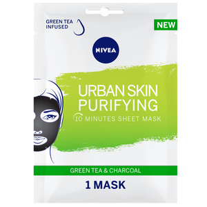 Nivea Face Urban Skin Purifying Sheet Mask Serum Infused with  Green Tea & Charcoal 1pc