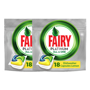 Fairy Dishwasher Platinum All in One Lemon 2 x 268g