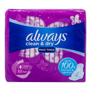 Always Clean & Dry Maxi Thick Large with Wings Sanitary Pad 32pcs