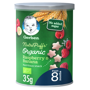 Gerber Baby Food Organic Nutri Puffs Raspberry & Banana From 8 Months 35g