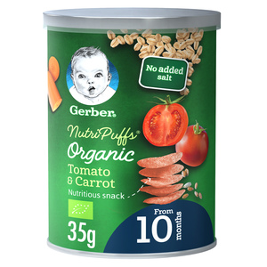 Gerber Baby Food Organic Nutri Puffs Tomato & Carrot From 10 Months 35g