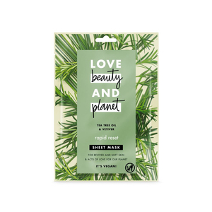 Love Beauty and Planet Sheet Mask Rapid Reset Tea Tree Oil & Vetiver 1pc