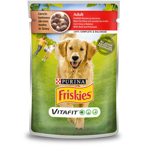 Purina Friskies Adult Dog food with Beef and Potatoes Pouch 100g