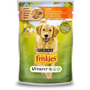 Purina Friskies Adult Dog Food with Chicken and Carrot Pouch 100g