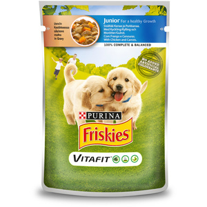 Purina Friskies Junior Dog Food with Chicken and Carrot Pouch 100g