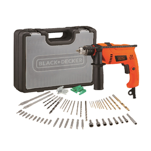 Black+Decker Hammer Drill with Variable Speed HD650 + Accessories 50pcs + Kit Box