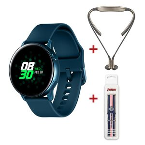 Samsung Galaxy Watch Active SM-R500 Green + Samsung Level U Headset Assorted Color + Silicon Watch Strap Assorted Color