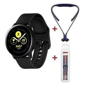 Samsung Galaxy Watch Active SM-R500 Black + Samsung Level U Headset Assorted Color + Silicon Watch Strap Assorted Color