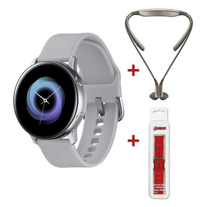 Samsung Galaxy Watch Active SM-R500 Silver + Samsung Level U Headset Assorted Color + Silicon Watch Strap Assorted Color