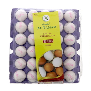 Al Tamam Fresh White Eggs Medium 30pcs
