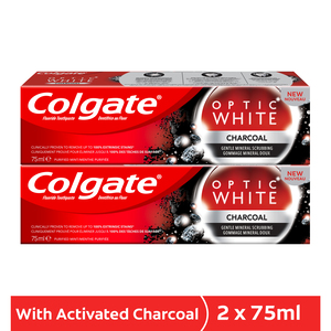 Colgate Toothpaste Optic White Charcoal 2 x 75ml