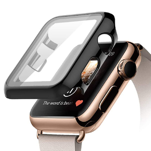 Trands Black Hard Case Compatible with Apple Watch Series 5 Series 4, Ultra-Thin HD Tempered Glass Screen Protection 42-44mm AW385