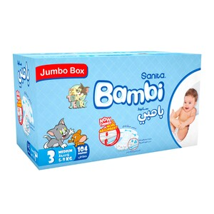 Sanita Bambi Baby Diapers Size 3 Medium 5-9kg 104pcs