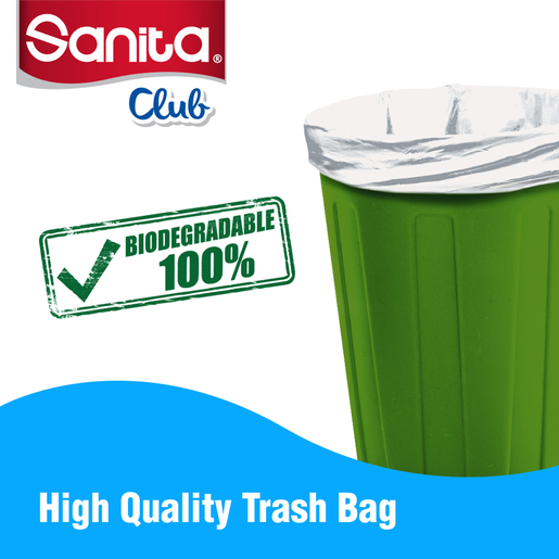Sanita Club Trash Bags Biodegradable 10 Gallons Size 65 x 52cm 30pcs