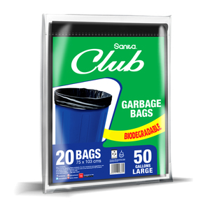 Sanita Club Garbage Bags Biodegradable 50 Gallons Size 75 x 103cm 20pcs