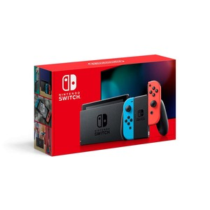 Nintendo Switch Extended Battery Life with Neon Blue and Neon Red Joy Con (2019)