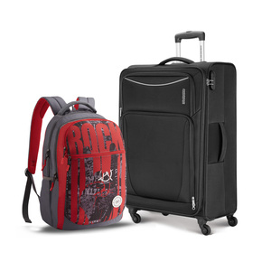 American Tourister Portland 4Wheel Soft Trolley 68cm Black Color + Backpack
