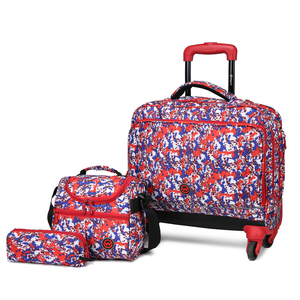 Wagon R Classy Printed 4Wheel School Trolley+Lunch Bag+Pencil Case 1924 20inch