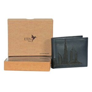 Eten Men's Leather Wallet With Dubai Skyline Designs ETCL-11 Blue