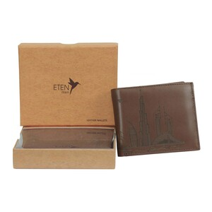 Eten Men's Leather Wallet With Dubai Skyline Designs ETCL-12 Bordo