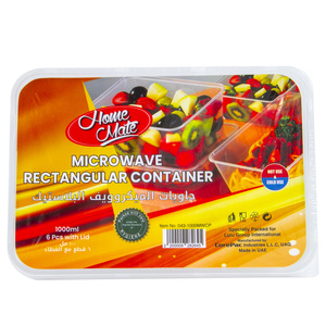 Home Mate Microwave Rectangular Container 1Litre 6pcs