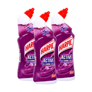 Harpic Toilet Cleaner Active Cleaning Gel Lavender 750ml 2+1