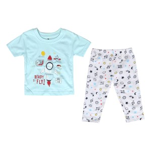Eten Infant's Boys Pyjama Set Short Sleeve Light Blue