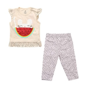 Eten Infant Girls Pyjama Set Short Sleeve Cream