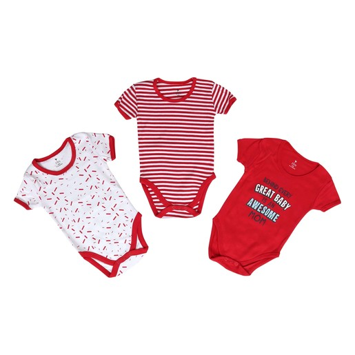 Eten Infant's Boys Bodysuit 3Pcs Set Short Sleeve Red 0-3M