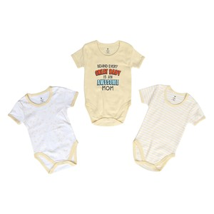 Eten Infant's Boys Bodysuit 3Pcs Set Short Sleeve Yellow