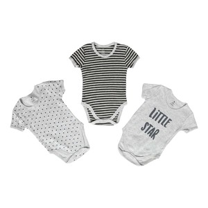 Eten Infant's Boys Bodysuit 3Pcs Set Short Sleeve Grey